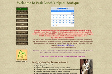 Peak Ranch Alpacas – Before Adroit Redesign